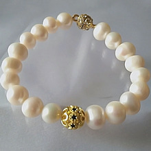 YKNRBPH Hot Sale 100% Womens Gold Zircon Round 9-10MM Freshwater Pearl Charm Bracelet  Gift For Women