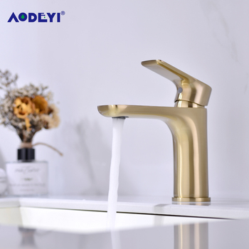 Solid Brass Bathroom Basin Faucet Hot and Cold For Water Mixer Taps Deck Mounted Sink Tap Single Handle Faucets Brushed golden waterfall basin faucet for bathroom torneira oil rubber brushed deck mounted sink mixer tap single handle faucets