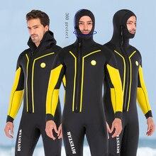 7mm 네오프렌 스피어 낚시 잠수복 전신 앞 지퍼 남성용 따뜻한 잠수복 수중 사냥 수영 서핑 잠수복