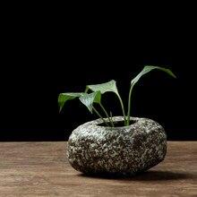 Kamień ceramiczny wazon ozdoby Zen rędnie trzy sztuki do dekoracji domu małe ściany hydroponiczne ceramiczne