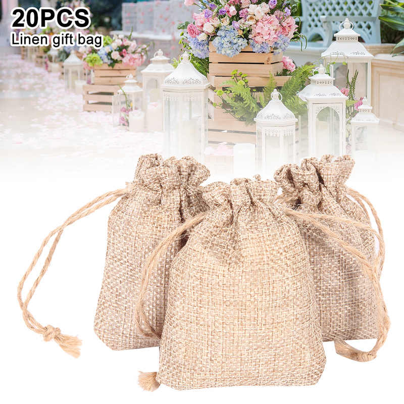 20pcs Small Gift Bags Burlap Jute Favour Bags with Drawstring for Wedding Party Festive DIY Craft
