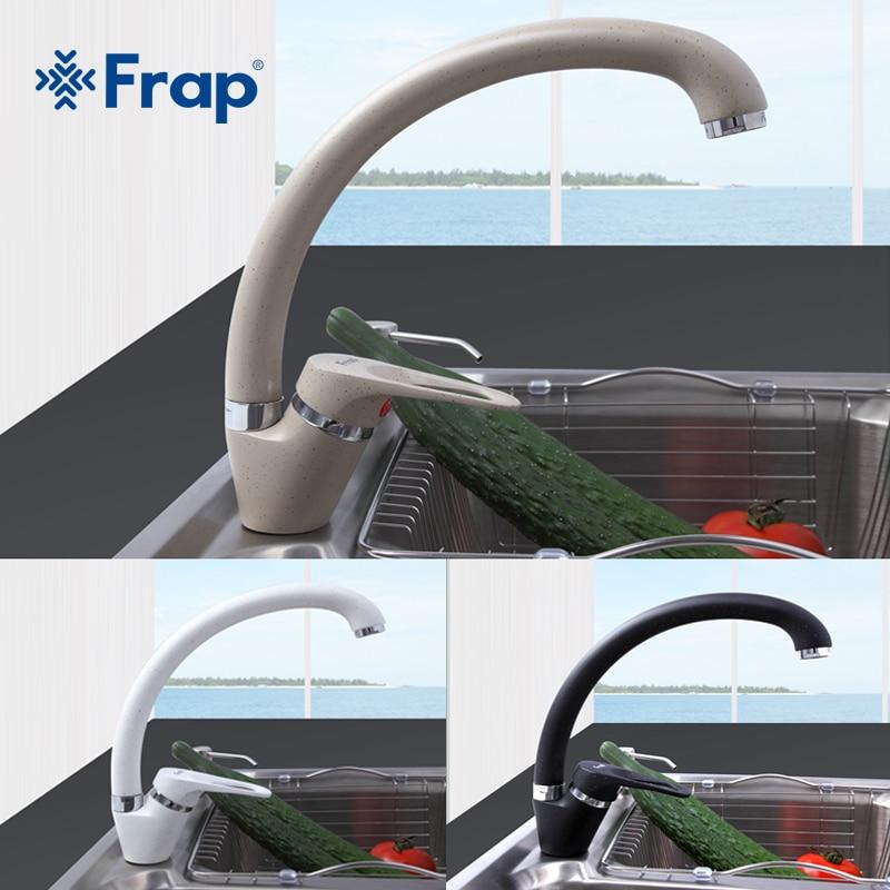 Frap Fashion Arc Kitchen Sink Faucet 5 Color Brass Mixer Faucet Single Handle Water Mixer Taps Ceramic Spool Faucet Tap F4113