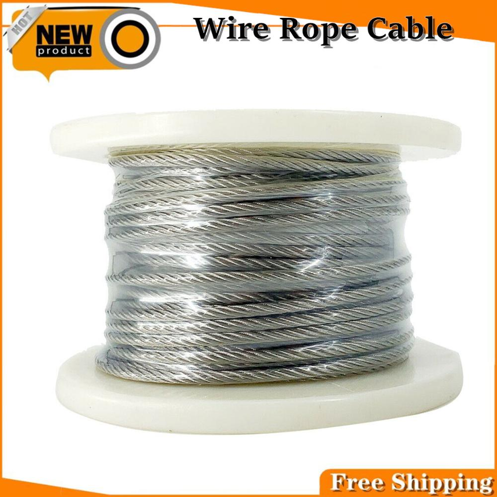7x19 5mm Flexible Wire Rope Soft Fishing Lifting Cable Stainless Steel T316 Stainless Clothesline Diameter 30 Meters/Roll-free Versan