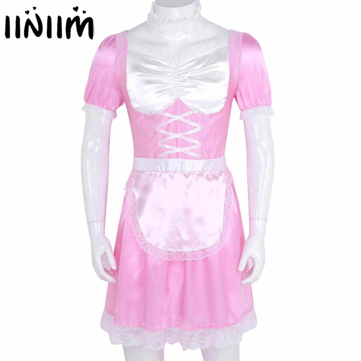 Iiniim 3 Nam Ẻo Lả Người Giúp Việc Đồng Nhất Áo Lạ Mắt Trang Phục Gợi Cảm Clubwear Mới Lạ Bên Satin Kèm Áo Choker Và Dây Đeo Đầu