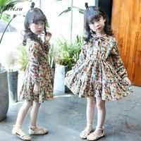 Weixu 2019 Primavera Verão Crianças Meninas Coreano Vestido Floral Do Vintage de Manga Comprida Vestido de Princesa para a Menina 6 7 8 10 11 12 14 anos de Idade