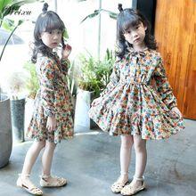 Weixu 2019 Summer Spring Kids Girls Dress Korean Floral Vintage Long Sleeve Princess Dress for Girl 6 7 8 10 11 12 14 Years Old
