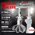 BULLVISION 20000LM Автомобильные светодиодные H7 H11 головной светильник лампочка 12V H8 H9 H4 льда светодиодные лампы для авто 9005 9006 безвентиляторный авт...
