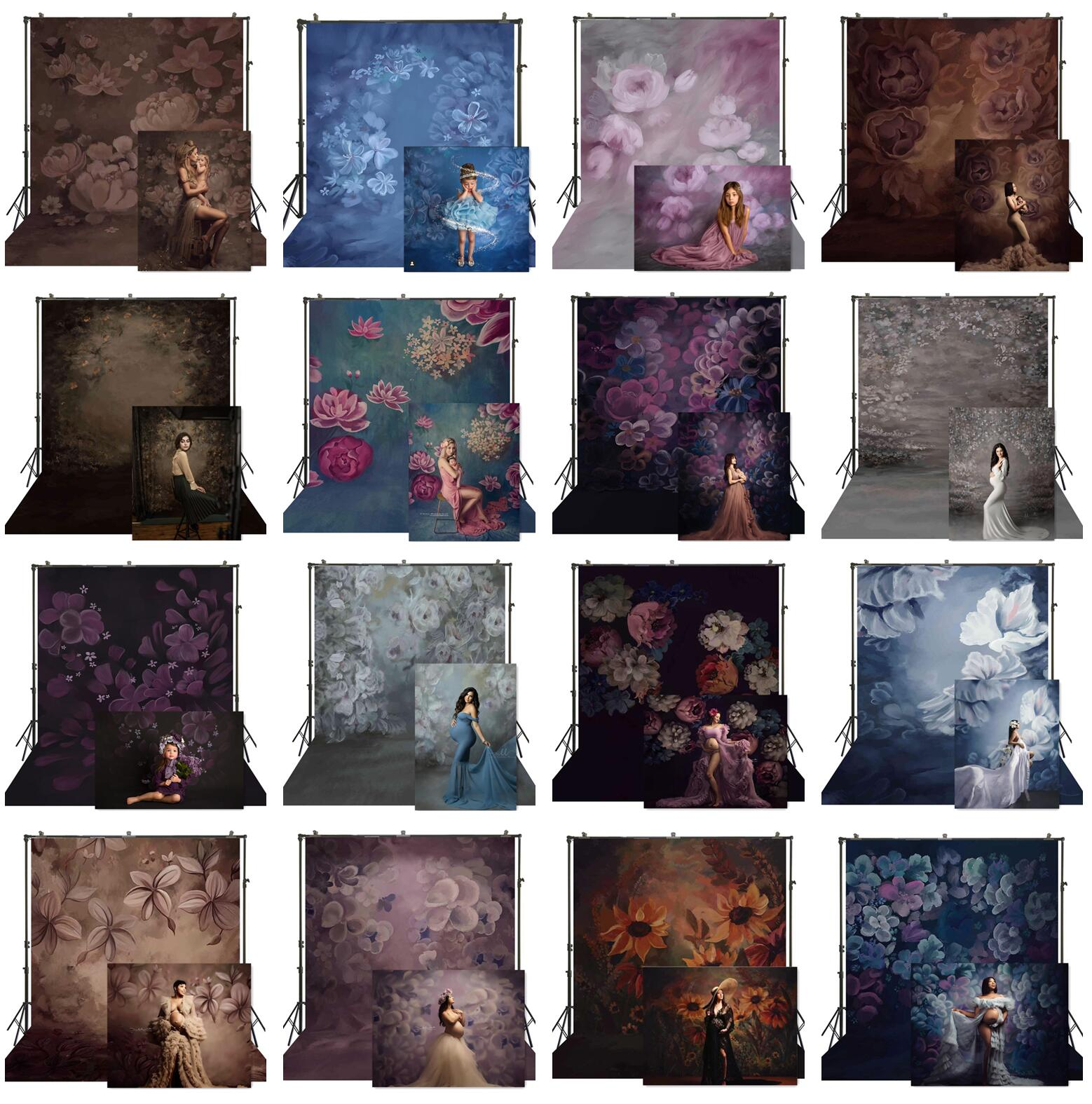 Фон для фотосъемки с изображением масляными красками цветами беременная женщина детские портреты тканевый фон для профессиональной студи...