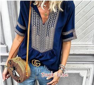 Image 3 - Kadınlar için 2020 yeni yaz bluz gömlek kadın çizgili v yaka yarım kollu Blusas Tops moda kadın streetwear gömlek