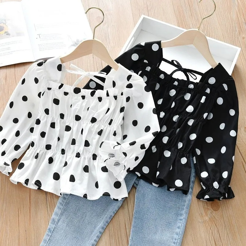 2021 Spring Autumn Girls Blouses 23 4 6 8 10 Years Kids Cute Dot  Puff  Sleeve Square Neck Cotton Blouse Shirts For Baby Girl
