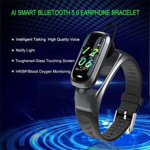 Image 2 - B9 חכם שיחת צמיד Bluetooth אוזניות צמיד קצב לב צג גשש כושר אוזניות חכם להקת דיבור עבור IOS אנדרואיד
