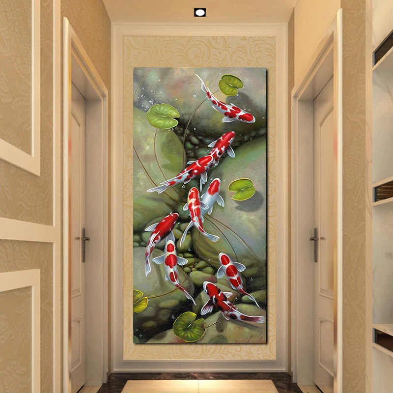Wall Art Picture HD Print Chinese style Nine Red Koi Fish Landscape Oil Painting on Canvas Poster For Living Room Modern Decor