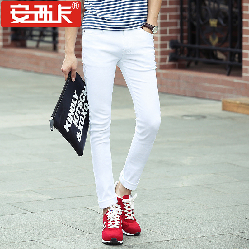 Autumn And Winter Men's Elasticity Korean-style Skinny Jeans Students Solid White Slimming Pencil Pants 8011