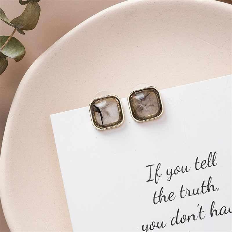 韓国気質宝石真珠幾何スクエアラウンド大理石テクスチャイヤリング誇張気質かわいい女性のイヤリングジュエリー