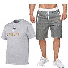 Summer 2pc Tracksuit+Shorts Men Sweatshirt Pants Summer Men's Short Fashion T-Shirt Shorts Casual Suit Sportswear Men's Clothing
