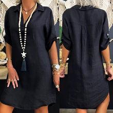 Mode longue chemisiers femme grande taille couleur unie coton lin col rabattu chemise lâche robe blusas mujer de moda 2020