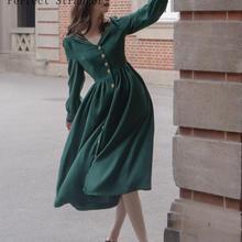 Осень, Новое поступление, Ретро стиль, горячая распродажа, v-образный вырез, длинный рукав, женское длинное платье зеленого цвета