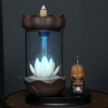 Color Changing LED Light Windproof Waterfall Incense Burner Zen Peaceful Monk Lotus Incense Stick Holder Lucky Home Decoration
