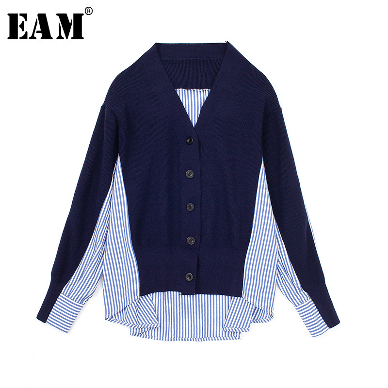 [EAM] 2019 New Autumn Winter Stand Collar Long Sleeve Knitting Hit Color Green Loose Sweater Women Fashion Tide All-match SA853