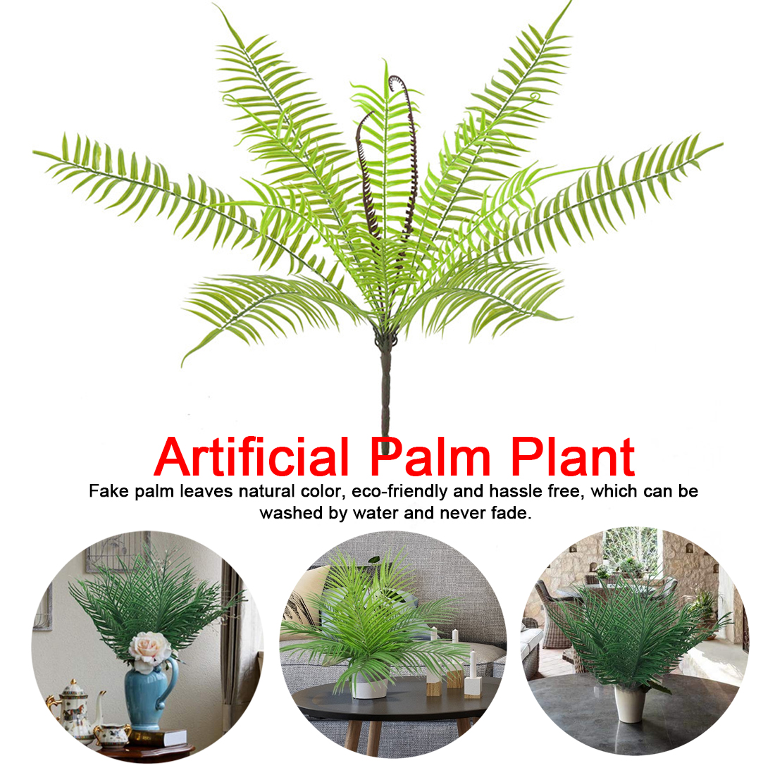US $0.71 28% OFF Artificial Plant Palm Leaf 9/14 nch Bush Greenery on herb plants for home, vine plants for home, potted plants for home, tropical plants for home, water plants for home, decorative plants for home, indoor plants for home,