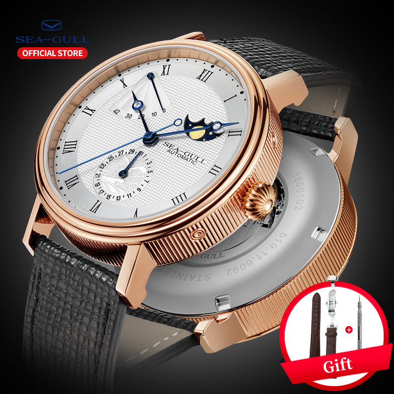 Seagull Automatic Watch Men Mens Automatic Mechanical Moon Phase Watches Day Date Man Watch 2019 Designer Watch 819.11.6092