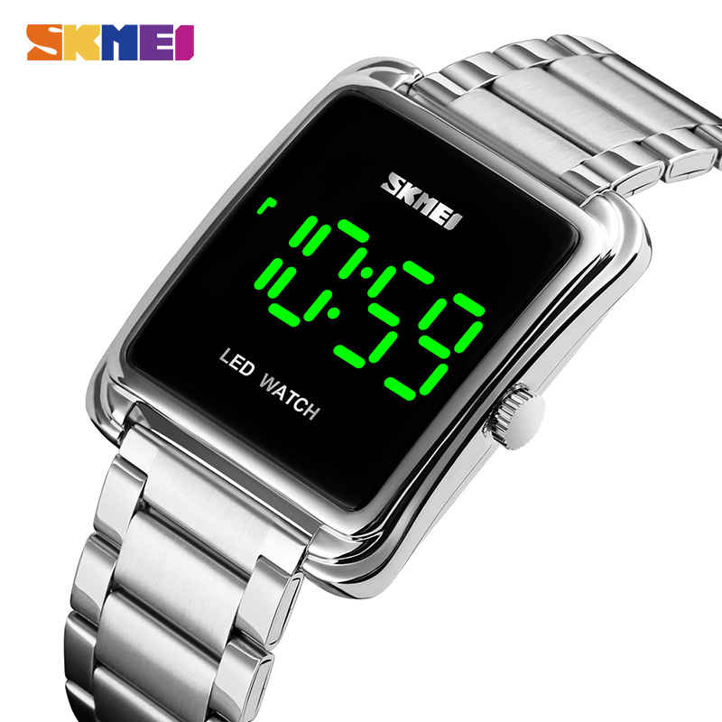 Clock Wrist-Watches Led-Display SKMEI Digital Stainless-Steel Male Top-Brand Waterproof