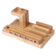 Bamboo Wood Charge Holder Docking Station Bracket For Apple Watch Mobile Phone