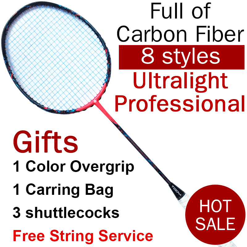Professional Badminton Racket Carbon Fiber Badminton Racquets Graphite Racket Lightweight With String Bag Grip Shuttlecock