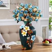 European retro three dimensional flower ceramic vase living room dried flowers creative home luxury porch decoration furnishings