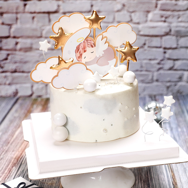 1 Set Angel Moon Stars Baby 39 s Theme 1st Birthday Cake Topper One Cake Decoration Baby Shower kids Party Supplies in Cake Decorating Supplies from Home amp Garden
