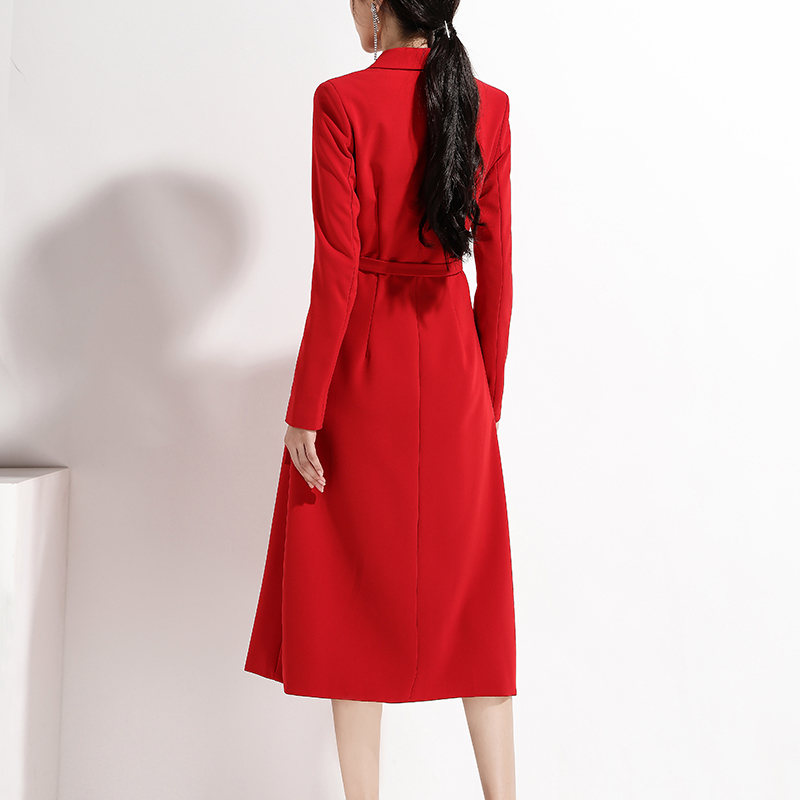 INDRESSME 2019 New Sexy Chic Elegant Blazer V Neck Long Sleeve Sashes With Buckle Red Office Lady Women Business Midi Dress