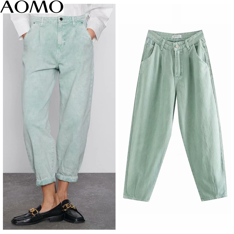 AOMO Women Light Green Chic Loose Banana Jeans Pants 2020 Long Trousers Pockets Zipper Casual Female Denim Pants 4M501A