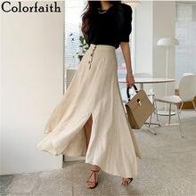Colorfaith – jupe longue fendue en coton et lin pour femme, vêtement décontracté, Vintage, taille élastique, boutons, irrégulier, été, 2020, SK8560