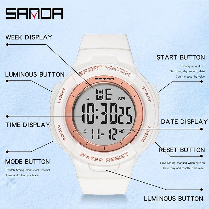 Montres électroniques pour femmes, Bracelet à la mode, chronomètre pour filles, de marque SANDA, horloge antichoc 5