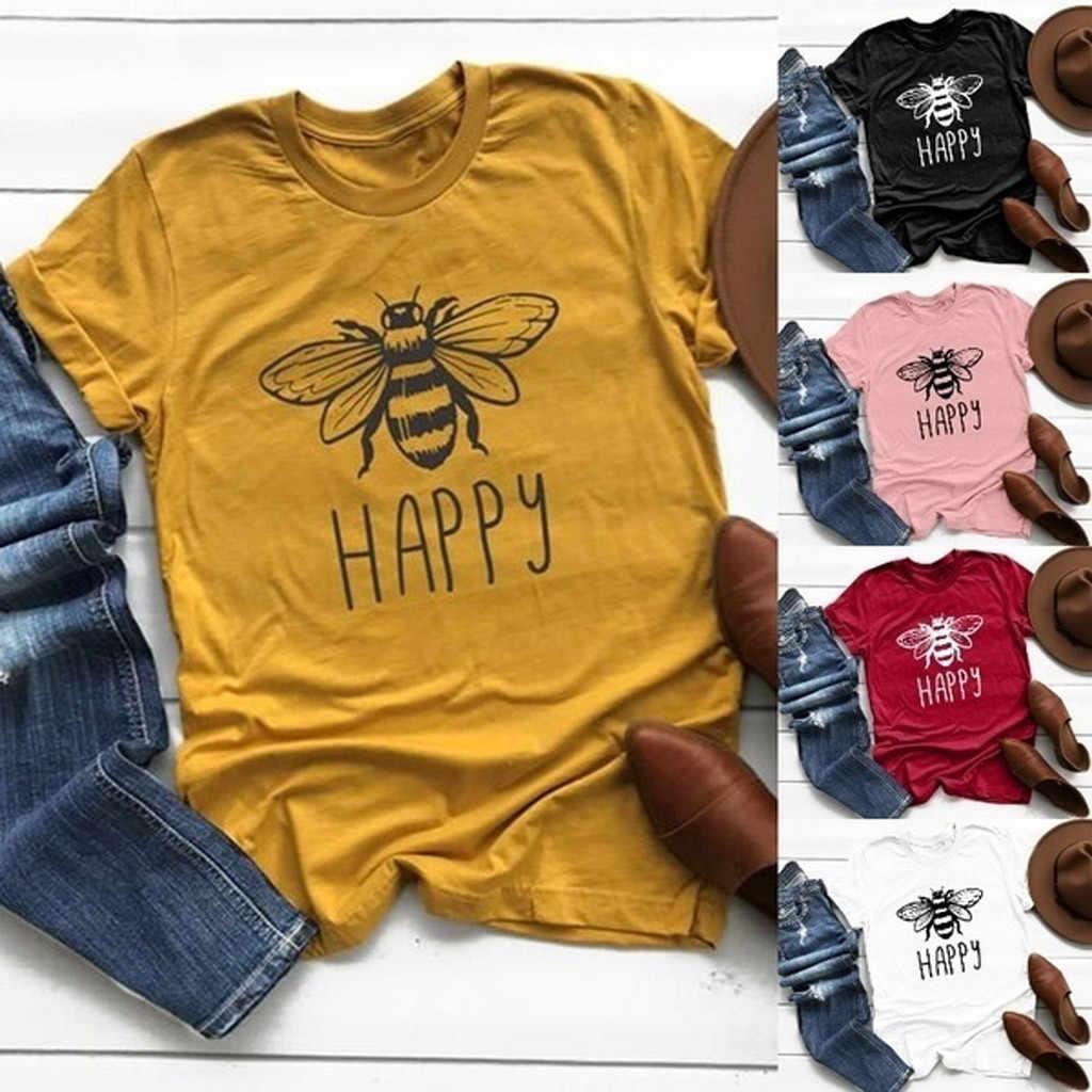 2020 tshirt women 코튼 라운드 넥 비 프린트 t 셔츠 반소매 플러스 사이즈 summer poleras camiseta 탑 여성 하라주쿠 t 셔츠