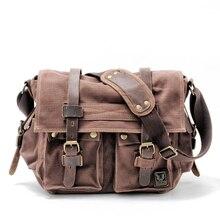 Mens Canvas Leather Messenger Bag for 14