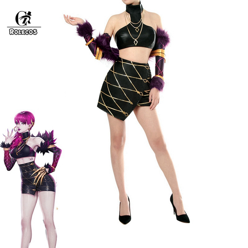 Rolecos kda evelynn cosplay traje lol kda cosplay lol evelynn traje k/da feminino roupa sexy conjuntos completos para dia das bruxas comic con