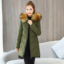 solid women winter parkas female long jackets hooded fur collar thick coats office ladies warm oversized outwear manteau femme(China)