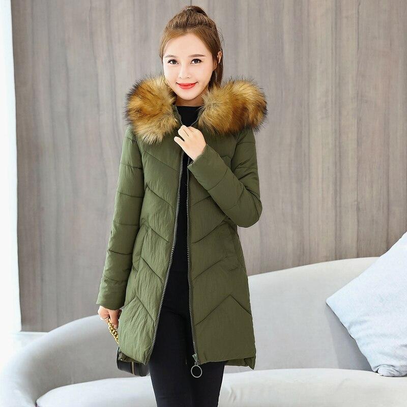 Solid Women Winter Parkas Female Long Jackets Hooded Fur Collar Thick Coats Office Ladies Warm Oversized Outwear Manteau Femme