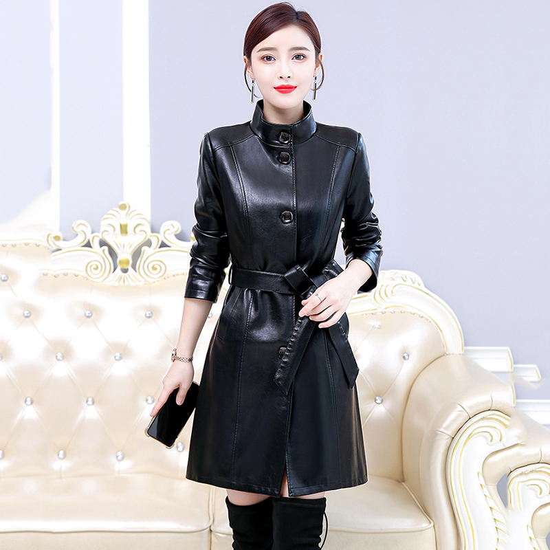 2020 Spring Autumn Real Leather Coat Womens Plus Size Stand Collar Long Parker Women Windbreaker Jacket Female Belt  Jacket 7XL