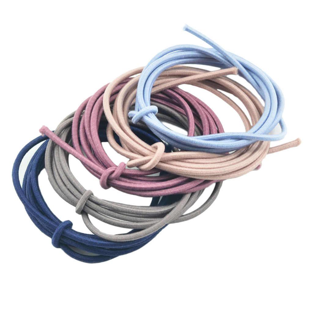 5m x 2,5mm redondas mixtas caucho fabricación de joyas de cuerda DIY lazos para el cabello