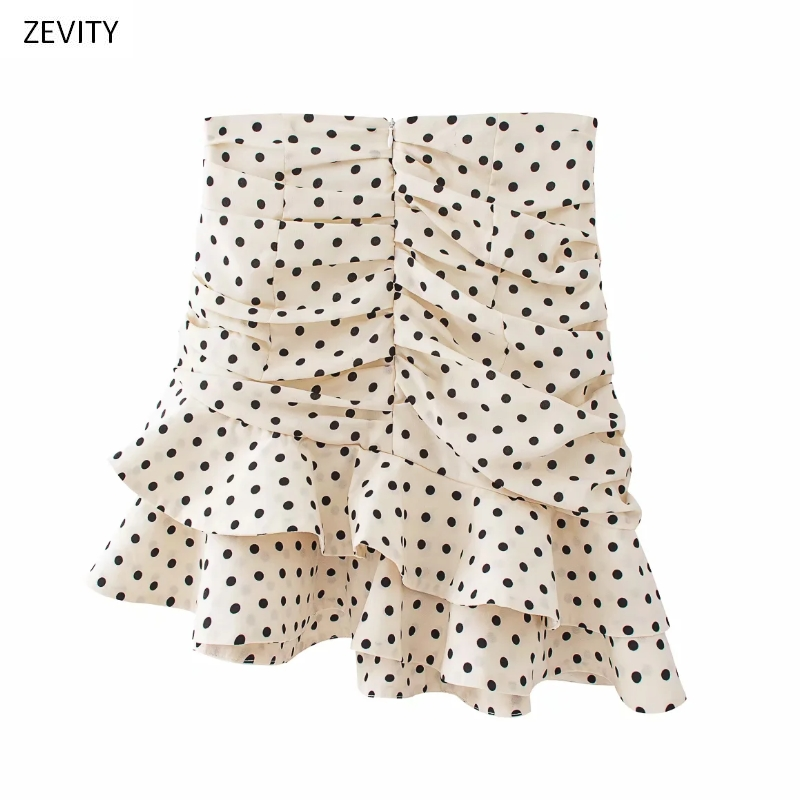 Polka Dot Print Pleated Asymmetrical Skirt 7
