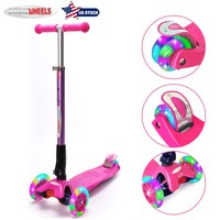 Children Scooter 3wheels Foldable Kick Scooter With LED Wheels & LED Deck Kid's Balance Bike Boys Girls Gift