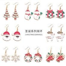 earrings 2019 White snowflake Santa Claus Christmas Earrings Fashion Drop Earrings Xmas Gift Jewelry Holiday Party Accessories snowflake santa claus gift leggings