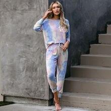 Женская Осенняя одежда градиентные пижамы брюки с длинным рукавом