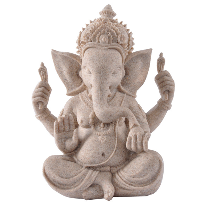 Sandstone Elephant God Buddha Statue Lord Ganesha Sculptures Ganesh  Figurines Hindu Buddhism Statue Home Decoration Accessories