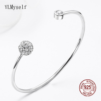 Real Sterling Silver Bangle Open Free size Birthday Gift Jewelry Jewellery Elegant Zirconia Solid 925 Bracelet & bangle