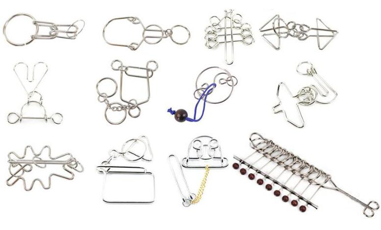 New 12PCS Per Set Challenging  IQ Metal Wire Puzzle Storage Bag Packaging