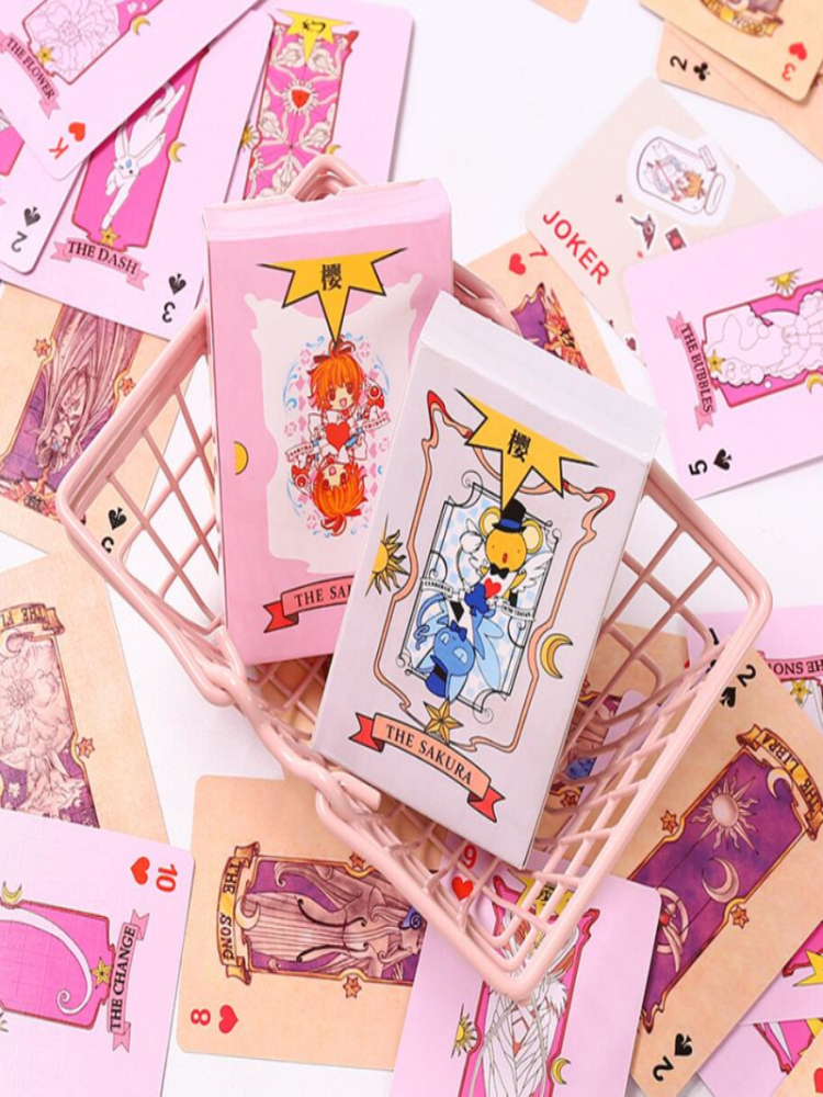 Anime 54 Piece Cosplay Card Captor Sakura Kinomoto Tarot With Clow Cards Poker Magic Book Set In Box Prop Gift Playing Cards Des Buy At The Price Of 4 99 In Aliexpress Com
