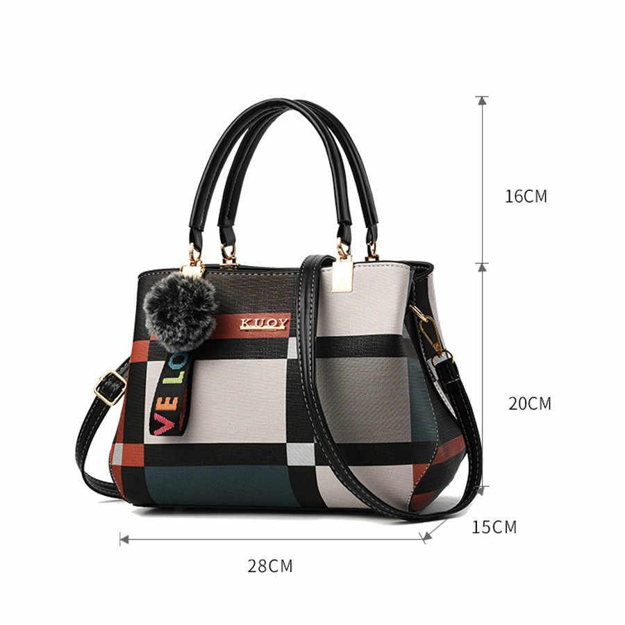 Valenkuci Neue Beiläufige Plaid Schulter Tasche Mode Nähte Wilden Messenger Marke Weibliche Totes Umhängetaschen Frauen Leder Handtasche